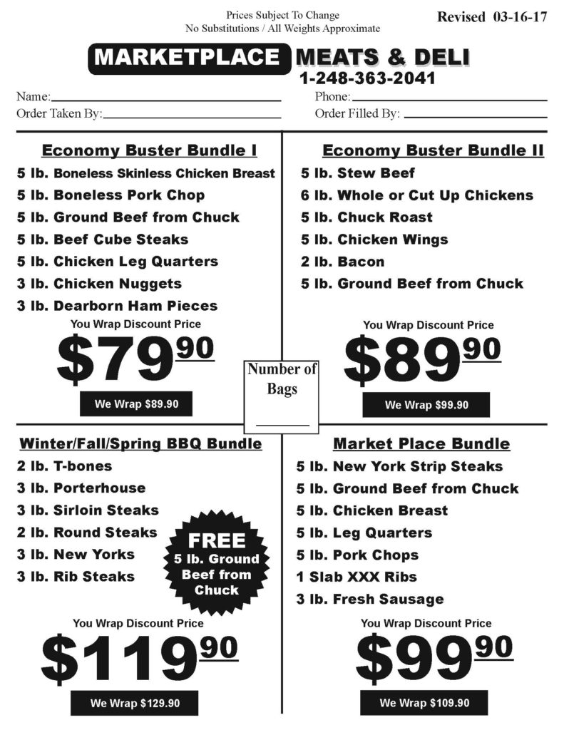 Meat Bundles | Market Place Meats | Waterford, MI | Economy Buster Bundles